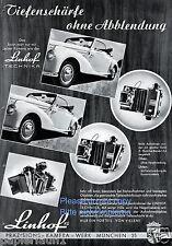 Kamera Linhof Technika Reklame von 1953 Schärfe Tiefenschärfe Mercedes Cabrio ßß