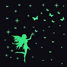 Luminous Star's & Butterflies Fairy Wall Stickers Glow In The Dark Decals Decor.
