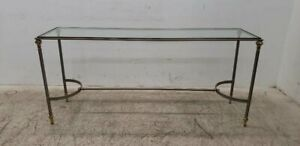 Vintage French Provincial Metal Brass Console Table Entry Table Silver & Gold