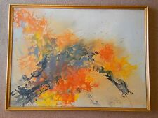 BIG Mid Century Modern Abstract Oil Painting signed Artist Louise Hancock 4' X 3