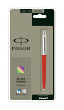 GENUINE PARKER JOTTER STANDARD BALLPOINT PEN RED BODY,STAINLESS STEEL GIFT