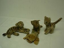 4 Antique Steiff Cats Tiger & Owl ~ Couple Need Tlc