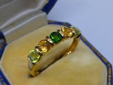 Really Attractive Ladies 9k Gold Diopside, Citrine & Peridot Quintet Ring Size S
