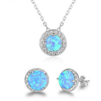 Fashion 925 Silver Blue Fire Opal Earrings Stud & Pendant Necklace Jewelry Gift