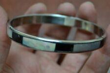 """MOTHER OF PEARL SHELL SILVER PLATED BANGLE BRACELET 1/4"""" #T-1952"""