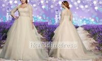 Sweetheart 3/4 Sleeve Lace Covered Wedding Dress Bridal Gown Custom Plus Size