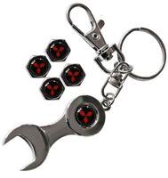 Mitsubishi Metall Keyring Schlüsselanhänger Autoschlüssel + Reifen Ventilkappen