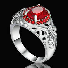 Size 9 Red Ruby Big Stone Ring White Rhodium Plated Wedding Party Jewelry