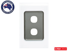 Clipsal Saturn 4032vh Switch Grid Plate and Cover 2 Gang No Mechanism Pure White