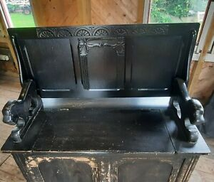 Wooden Monks Storage Bench Settle Seat Converts To Table With Lion Shaped Arms