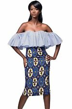 Gonna alta aderente stampata Tribale Cocktail Party Print Bodycon Midi Skirt M