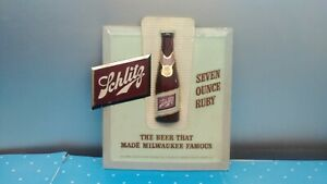 1950's Schlitz 3-D Tin Over Composition Ruby 7oz. Bottle Beer Advertising Sign X