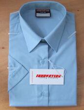 Ladies/Girls Size 36in Short Sleeve School Uniform Blouse Tie Collar Blue
