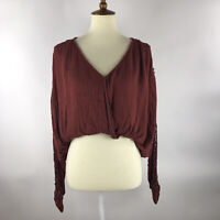 Free People Womens Cropped Blouse Size XS Burgundy Crochet Long Sleeve Lined