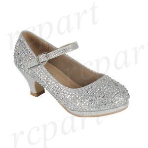 New girl's kids formal dress wedding shoes rhinestones flower girl buckle Silver