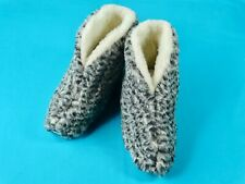 Natural Sheep Sheepskin Wool Warm Winter Unisex Slippers Booties House Shoes
