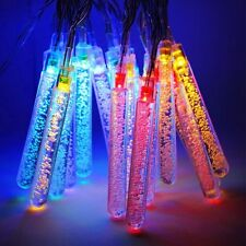 20 Multi-Colour LED Raindrop Icicle Lights Solar Power Hanging String Lights