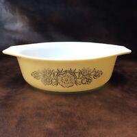 ✅💟✅@ 443 Pyrex Mixing Bowl Golden Flower Rosette 1.5 Qt Ovenware Casserole
