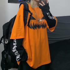Gothic Halloween Pumpkin Face T-shirt Harajuku Oversized Loose Streetwear Top