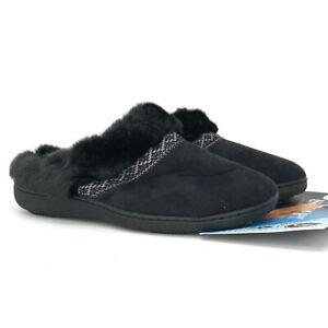 Isotoner Women's Black Clog Slipper Size 7.5-8 Slip On Microsuede Addie