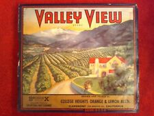 Vintage Valley View Fruit Crate Label WW2 Framed w/ Story 1925-1945 USA
