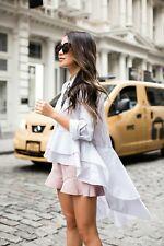 Zara White cotton Asymmetric Frill Hem Shirt with long back size S