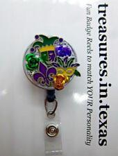 NOLA Lovers FUN Mardi-gras Theme Mixed Media Retractable Reel ID Badge Holder