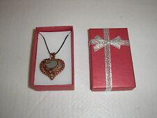 """Genuine Sea glass Aqua Heart necklace/pendant (copper) 18"""" waxed cord & gift box"""