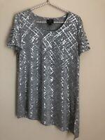 JM Collection Womens Size M Silver Top Shiny Cutout Sleeves Asymmetrical Hem