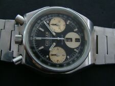 VTGE RARE CITIZEN BULLHEAD 8110 BLACK PANDA OCTAGON CHRONOGRAPH WATCH.  70s
