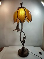 "28"" TIFFANY STYLE SLAG STAINED GLASS MONKEYS On A PALM TREE TABLE LAMP"