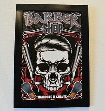 Babershop Skeleton Haircuts and Shaves 11 x 16 Print with Black Wood Frame
