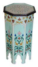 Moroccan Wood Table Coffee Side Corner Handmade Hand Painted Moorish Light Blue