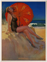 Original 1930s Gene Pressler Pin-Up Print Waiting For You By The Ocean So Blue