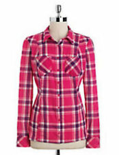 Nwt GUESS $79 Grunge Plaid Utility Button down Shirt Top Bright Pink XS 1 2 3