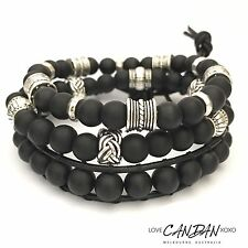 Mens Unisex Evil Eye Leather And Matt Onyx Stack Bracelet Set With Of 3