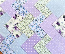 """50 x 4"""" fabric patchwork Square Purple Blue Mix Floral quilting Sewing Craft"""