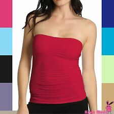 Soft Stretch Seamless Slimming Shirt Tank Strapless Bandeau Tube Top w/ Bra Pad