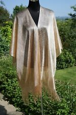 Kimono GOLD Metallic Fringed Soft Silky Floaty Long Oversized NEW Stunning