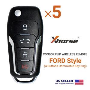 5× Xhorse Universal Wireless Flip Remote Key Ford Style 4 Buttons XNFO01EN