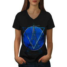 Wellcoda Paris Stylish Art Womens V-Neck T-shirt, Cloud Graphic Design Tee
