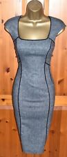 COAST SMART GREY FITTED PENCIL WIGGLE DRESS UK 10 OFFICE BUSINESS FORMAL