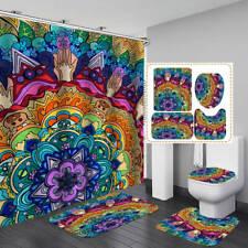 Mandala Style Shower Curtain BathMat Toilet Cover Rug Colorful Bathroom Decor