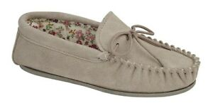 Mokkers real suede Moccasin slip on slippers Style Lily Colour Stone  New