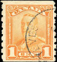 Used Canada F+ Scott #160 COIL 1c 1929 KGV Scroll Issue Stamp