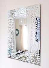Rectangular white & clear mosaic floral wall mirror 50x40cm-hand made Bali-NEW