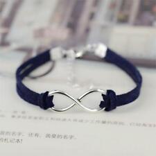 Silver Plated Infinity Navy Velvet Leather Rope Bracelet Birthday Gift