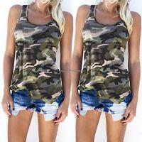 Women Fashion Casual Camo Camouflage Tank Top Sleeveless Casual Slim Shirt