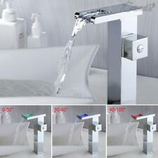 LED RGB Bathroom Sink Mixer Tap Waterfall Basin Brass Tall Bath Chrome Taps