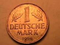 1956-G West GERMANY 1 Mark Ch Lustrous AU German Federal Republic One Mark Coin